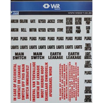 Distribution Board Label Set