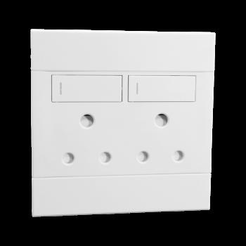Double Socket, 16amp,white,veti 2