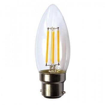Led Candle Clear Filament B22 4w 3000k