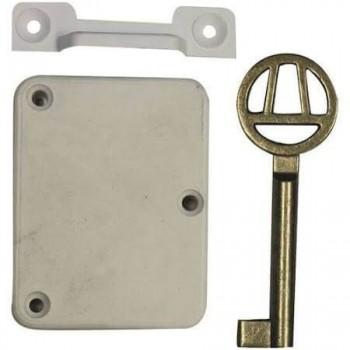 White Plastic Lock With Escutcheon & Keys