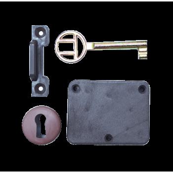 Brown Plastic Lock With Escutcheon & Keys