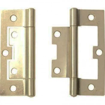 100mm Steel Flush Hinge Brass Plated With Screws