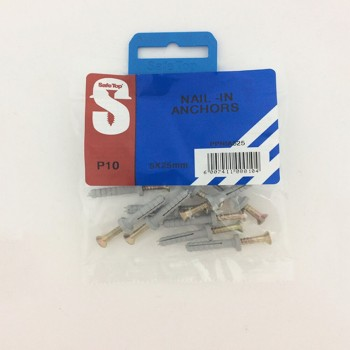 Pre Pack Nail In Anchors 5mm X 25mm Quantity:10