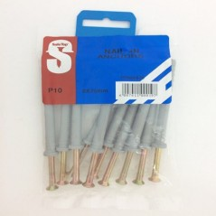 Pre Pack Nail In Anchors 8mm X 75mm Quantity:10