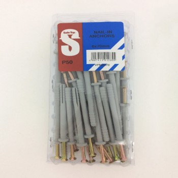Value Pack Nail In Anchors 6mm X 70mm Quantity:50