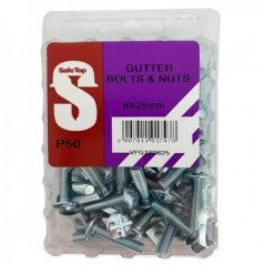 Value Pack Gutter Bolts & Nuts M6 X 25mm Quantity:50