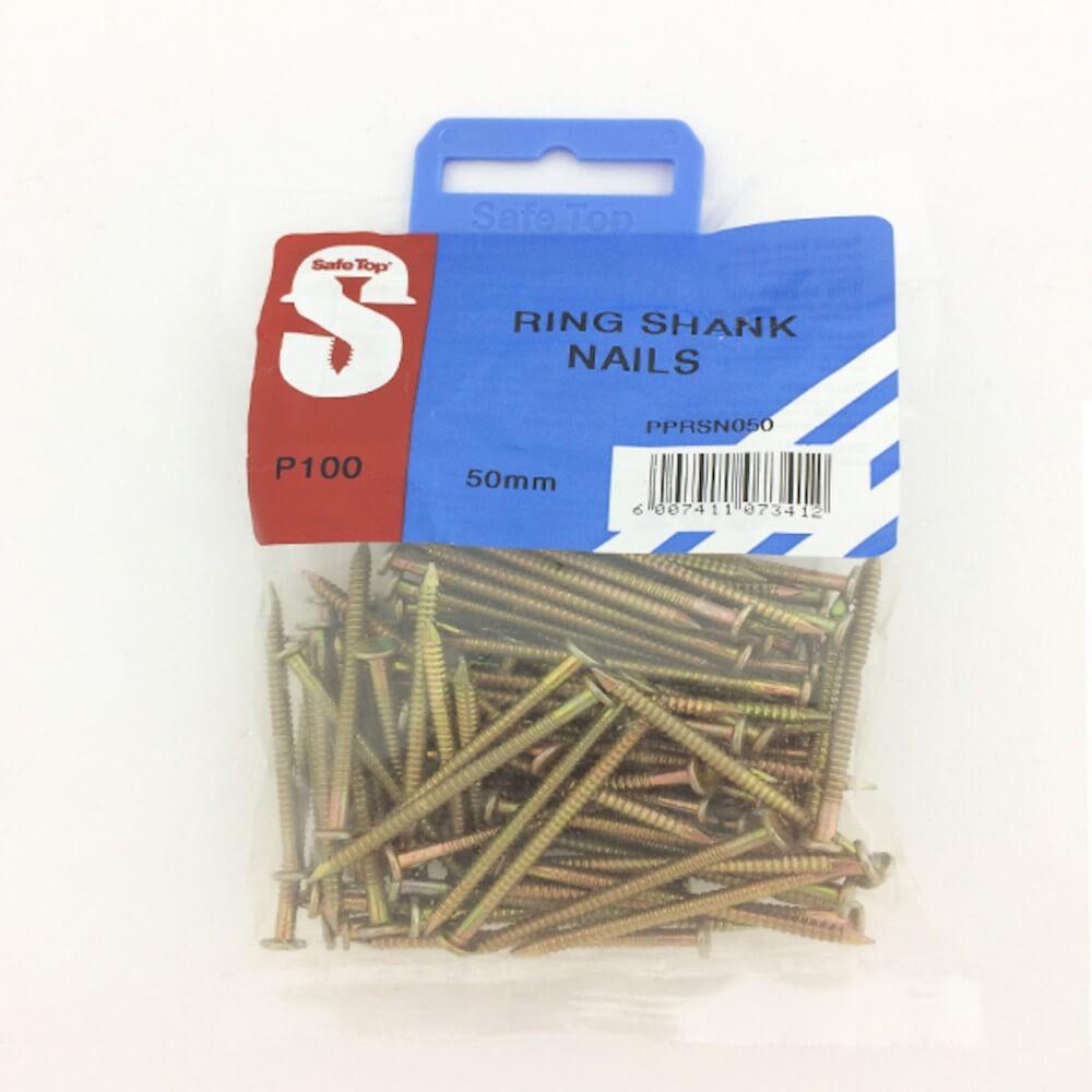 Pre Pack Ring Shank Nails 50mm X 2.8mm Quantity:100