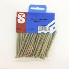 Pre Pack Ring Shank Nails 75mm X 3.55mm Quantity:50