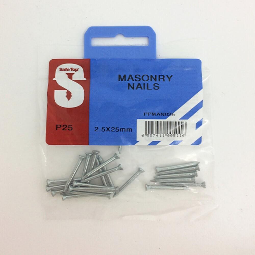 Pre Pack Masonry Nails Zp 2.5mm X 25mm Quantity:25