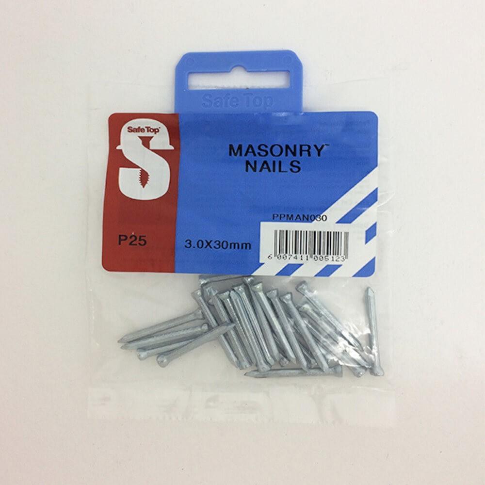 Pre Pack Masonry Nails Zp 3.0mm X 30mm Quantity:25