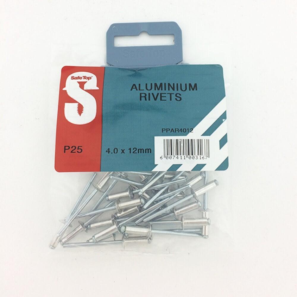 Pre Pack Aluminium Rivets 4.0mm X 12mm Quantity:25