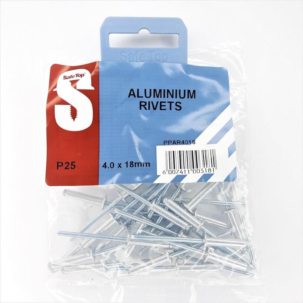Pre Pack Aluminium Rivets 4.0mm X 18mm Quantity:25