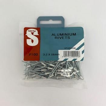 Value Pack Aluminium Rivets 3.2mm X 6mm Quantity:100