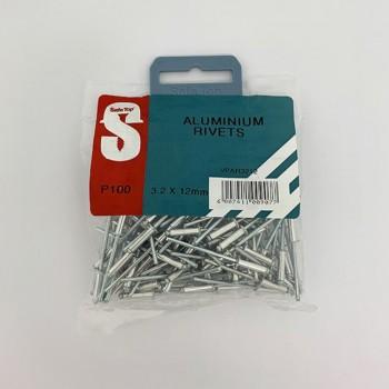 Value Pack Aluminium Rivets 3.2mm X 12mm Quantity:100