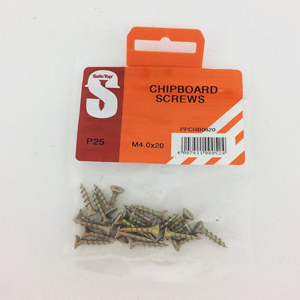 Pre Pack Chipboard Screws M4.0 X 20mm Quantity:25