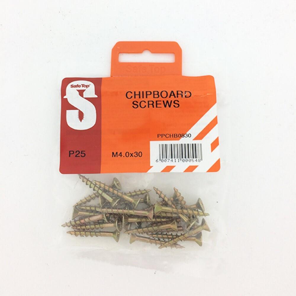Pre Pack Chipboard Screws M4.0 X 30mm Quantity:25