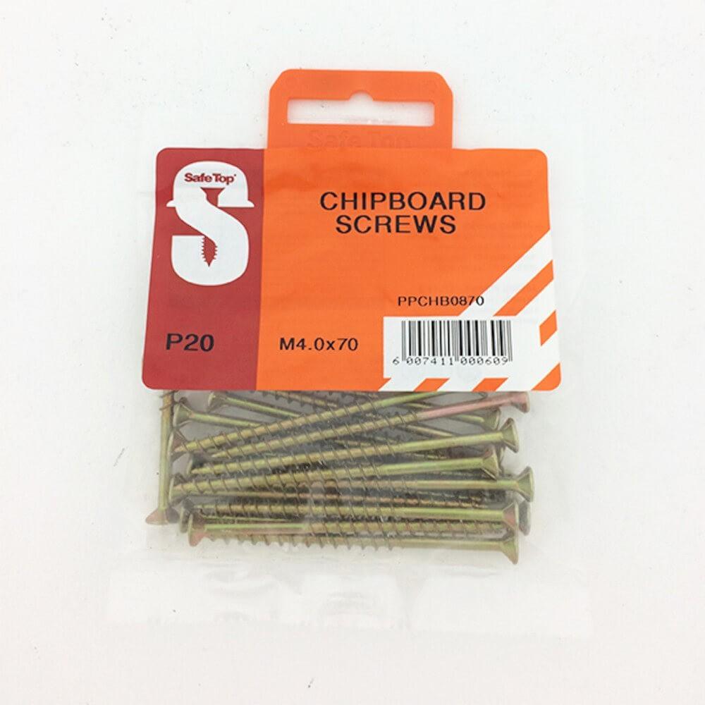 Pre Pack Chipboard Screws M4.0 X 70mm Quantity:20