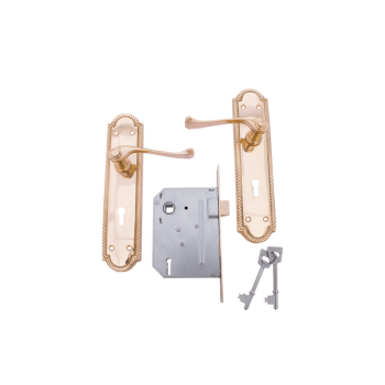 "8"" Georgian Scroll Keyhole Handle Lockset Brass Plated"