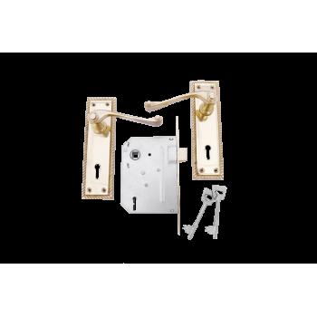 "6"" Georgian Scroll Keyhole Handle Lockset Brass Plated"