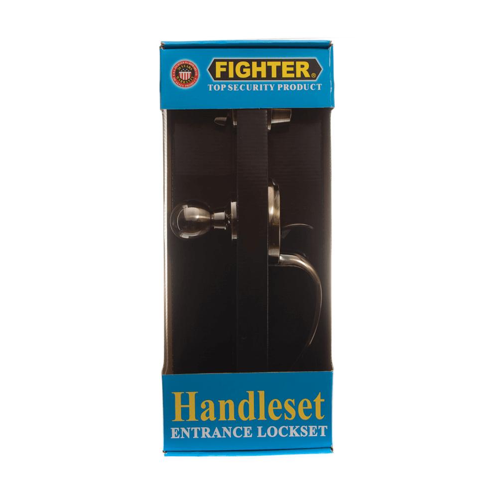 Long Handle Set Entrance Lockset Antique Brass