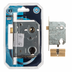 Cylinder Mortise Lock & Cylinder Combo Brass Plated