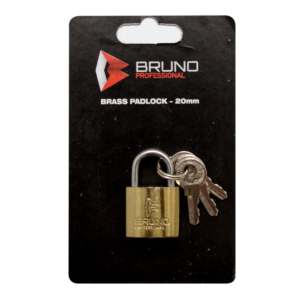 Brass Padlock 20mm Bruno Blister