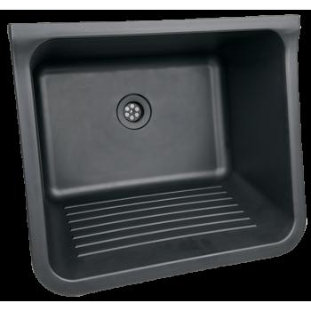 Plastic Black 40lt Wash-trough C/w Waste & Bracket Set