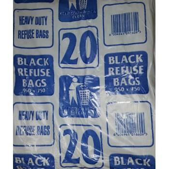 Refuse Bag Std Black Per 20 (950x750mm)