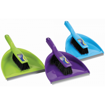 Dustpan & Brush Set Clip Together With Rubber Lip