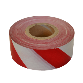 Red/white Barrier Tape 75mm Wide X 50mic X 500m Per Roll