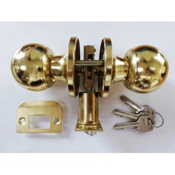Entrance Lockset Polished Brass Round