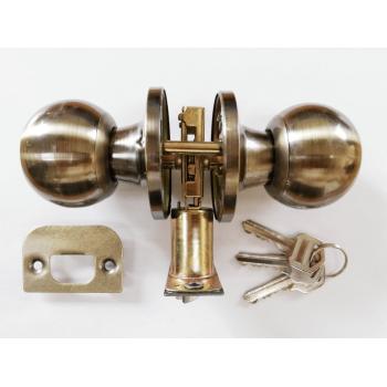 Entrance Lockset Antique Brass Round