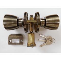 Entrance Lockset Antique Brass Tulip