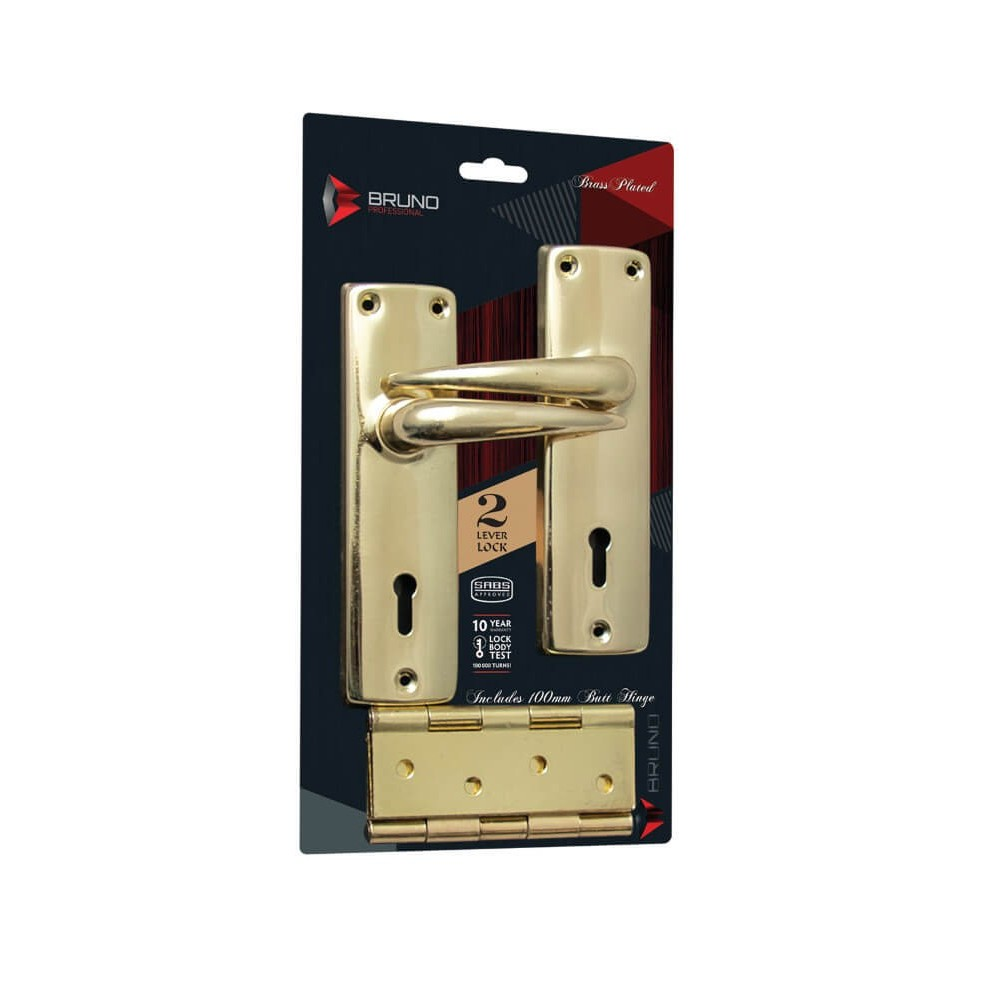 Mortise Locks Brass Plated 2l Sabs And Hinge Blister